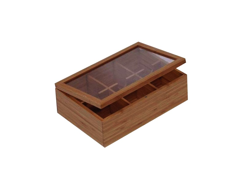 Caja para Te 6 divisiones Bamboo con tapa.