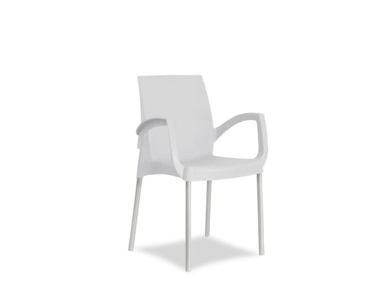 Silla Classic blanca con posabrazo PLASNEW.