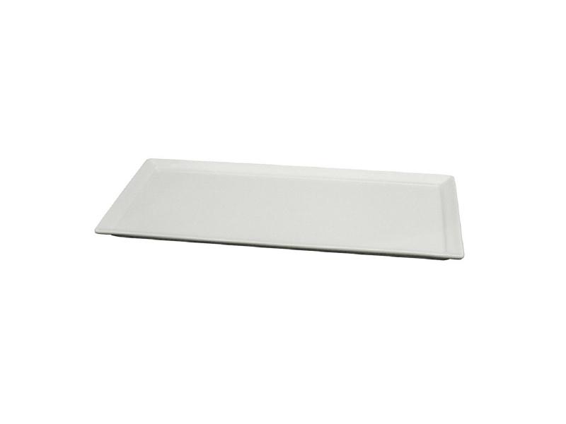 Fuente rectangular 28 x 13 x 1.5 cm. Cerámica blanca