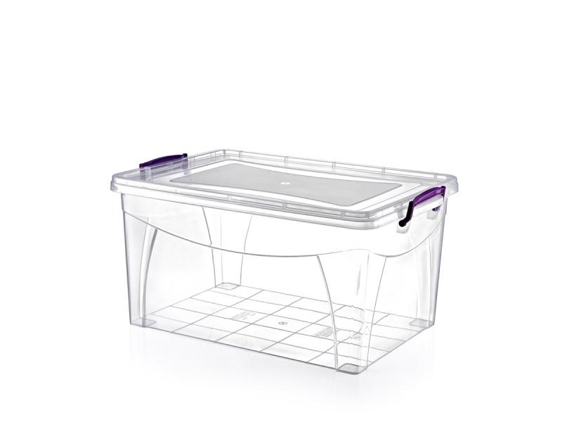 Caja plástica rectangular con cierre y asas.