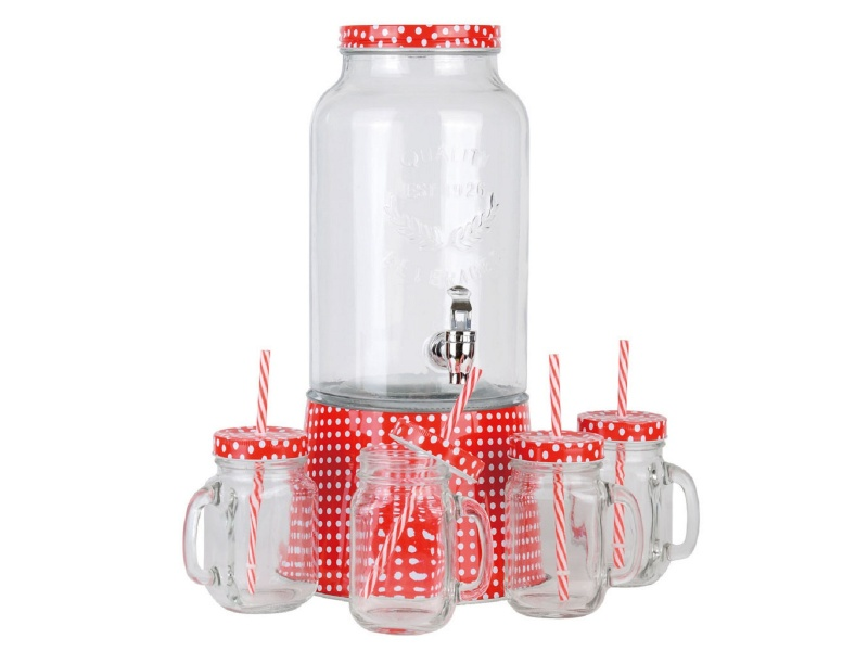 Dispensador de vidrio 5.6 ltrs con 4 jarros mason.