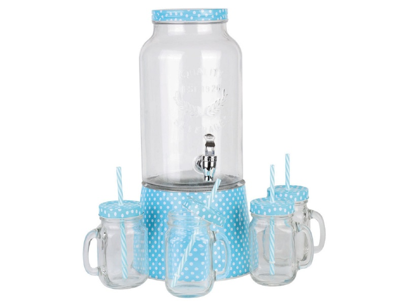 Dispensador de vidrio 5.6ltrs c/4 jarros mason.