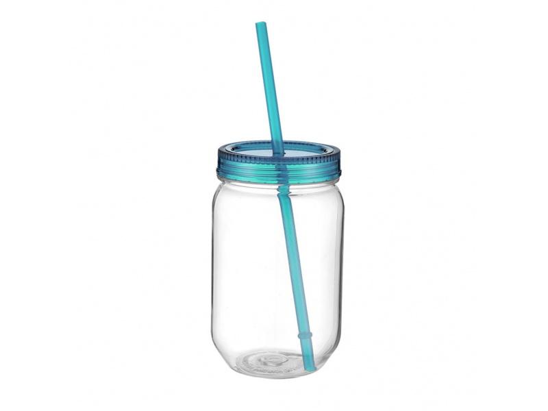 Vaso Frasco Plástico 590 ml transparente Tapa Azul