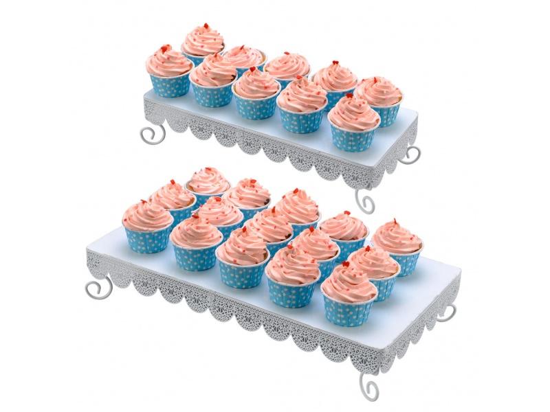 Soporte cupcakes metal blanco set x2
