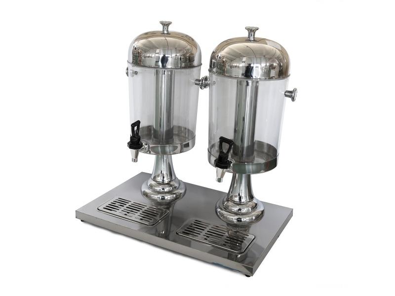 Dispensador de jugo doble 16 lts. acrílico y acero inox Goldsky