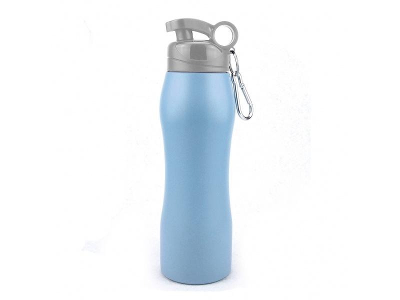 Caramañola acero 750 ml azul mate con mosquetón