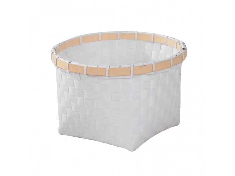 Cesto canasto blanco borde bambu Ø 22 x H 15 cm