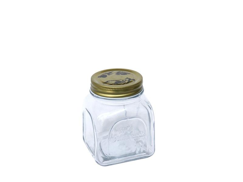 Frasco vidrio tapa rosca dorada 600 ml Goldsky