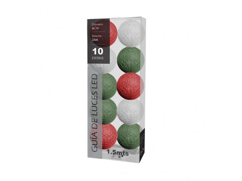Guirnalda guia luces led x 10 esferas eléctricas rojas verde blanco
