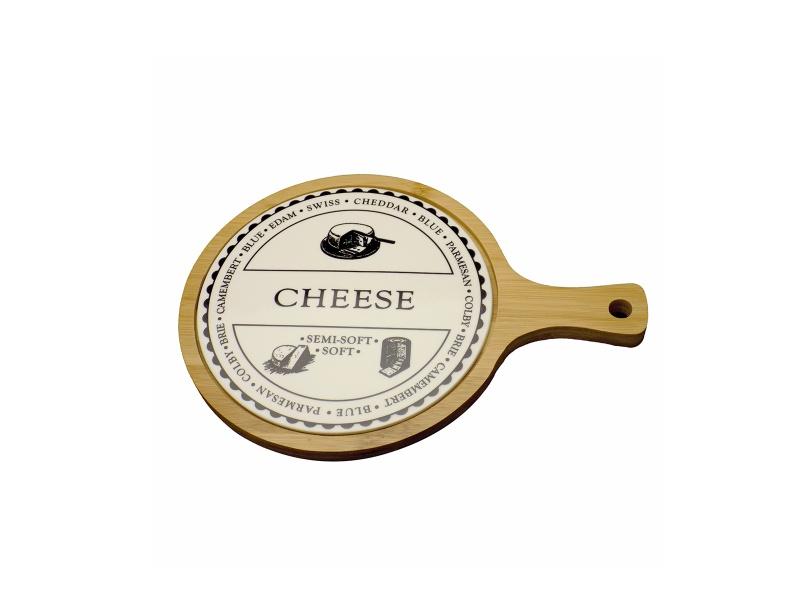 Tabla redonda madera y cerámica 22 cm