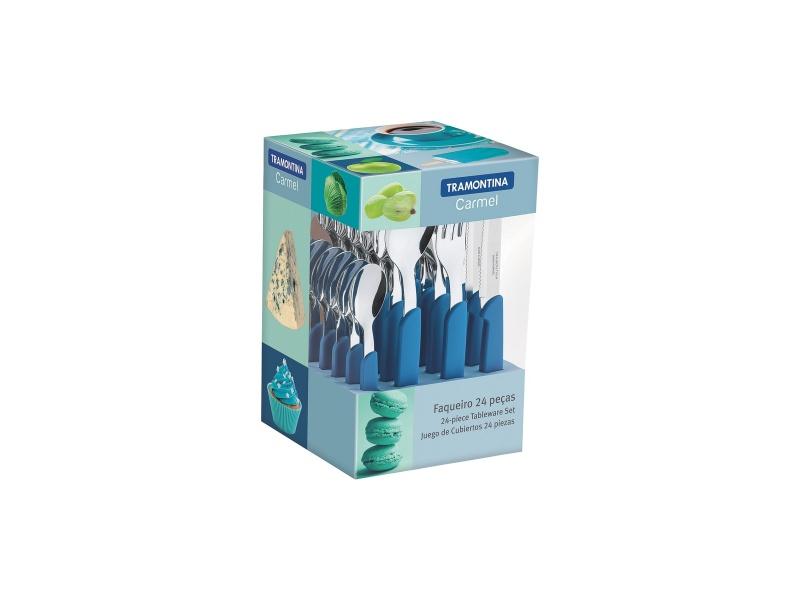 Juego cubiertos 24 piezas Tramontina Carmel Azul.