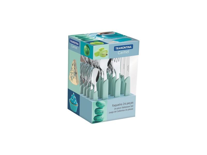 Juego cubiertos 24 piezas Tramontina Carmel Verde Agua