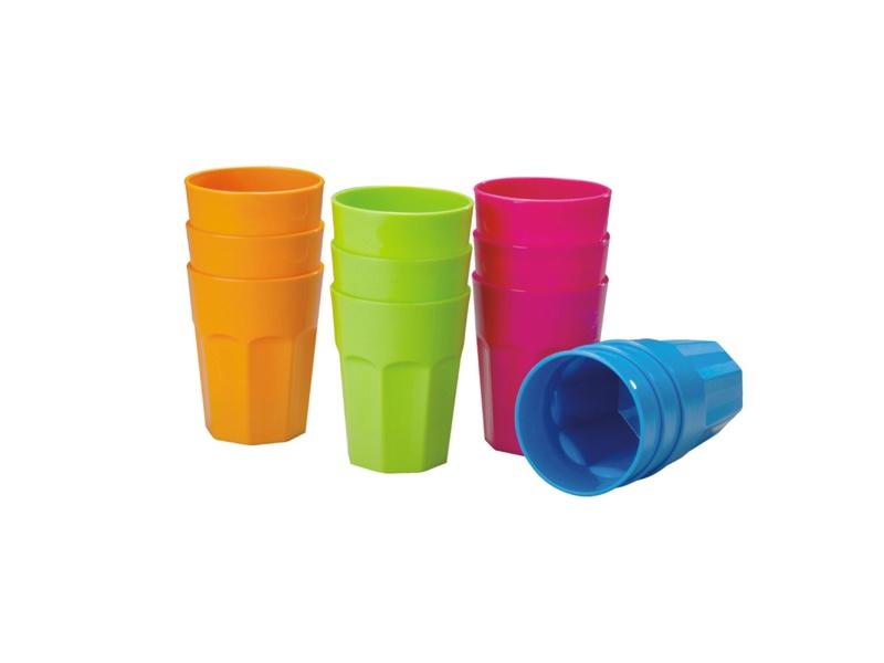 Vaso Plastico 430 ml. D 8.7 X H 11.2  cm, Set x 3 Colores Surtidos