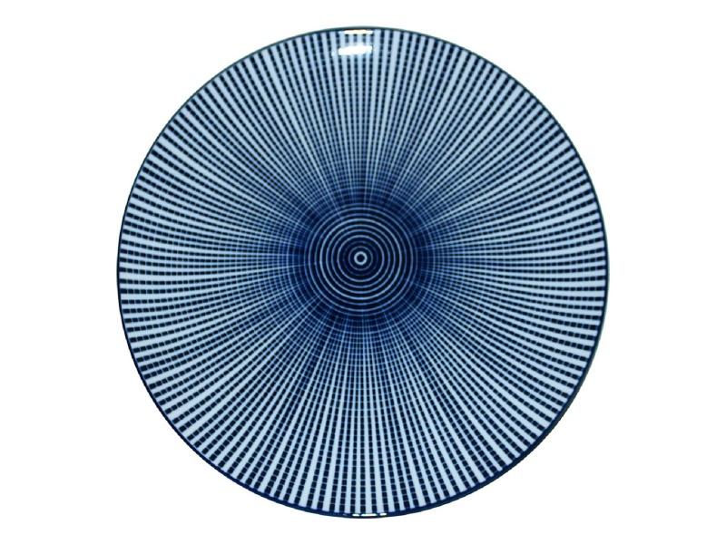 Plato Llano 27 cm. Cerámica Líneas/ Círculos Azul.