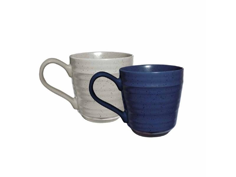 Taza Mug Cerámica 440 ml Blanco y Azul