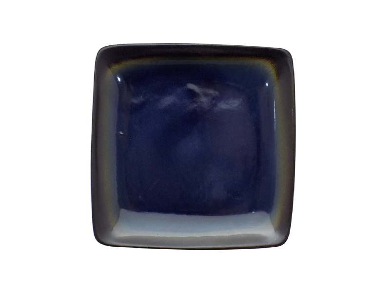 Plato Llano Cuadrado 20 cm Cerámica Azul  Negro