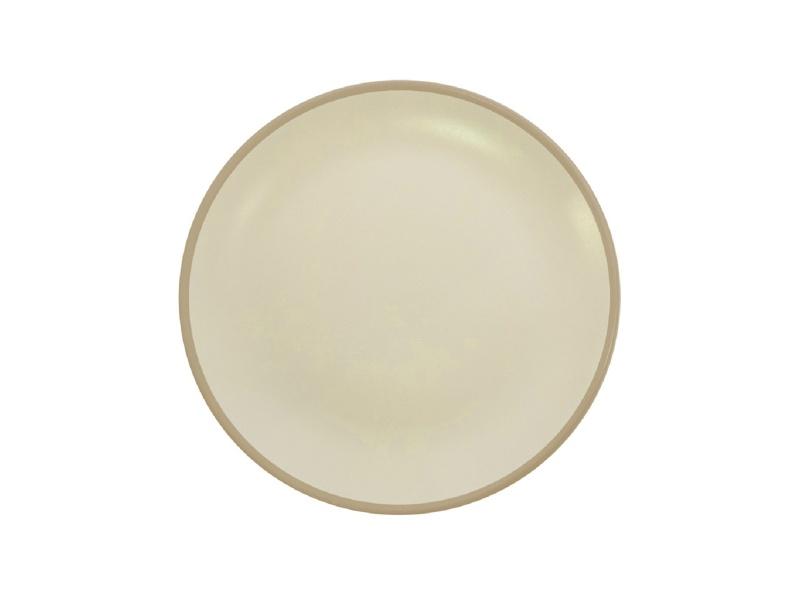 Plato Postre 20 cm Cerámica Blanco / Beige