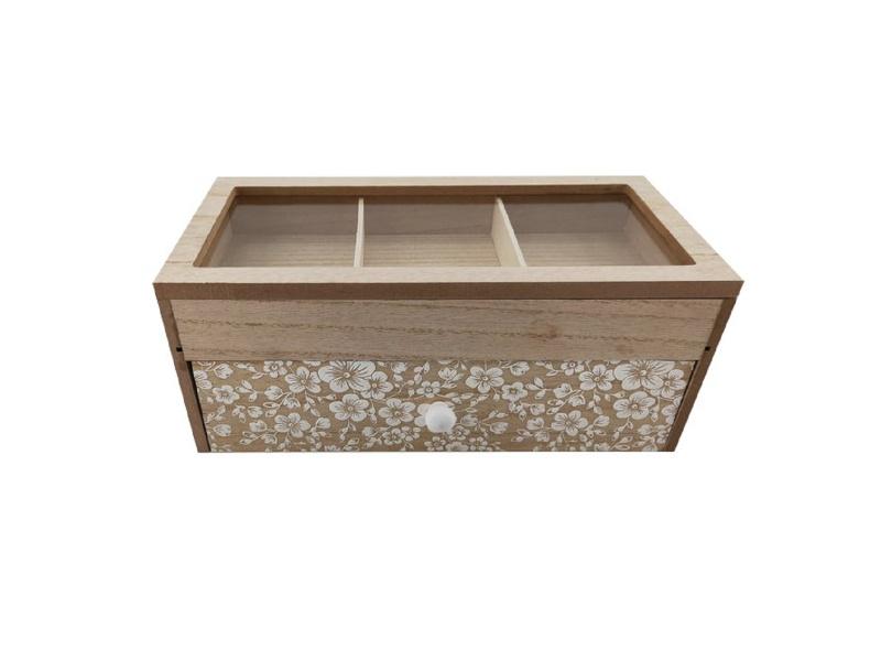 Caja Para Té C/3 Diviciones 26 x 14.5 x 11 cm