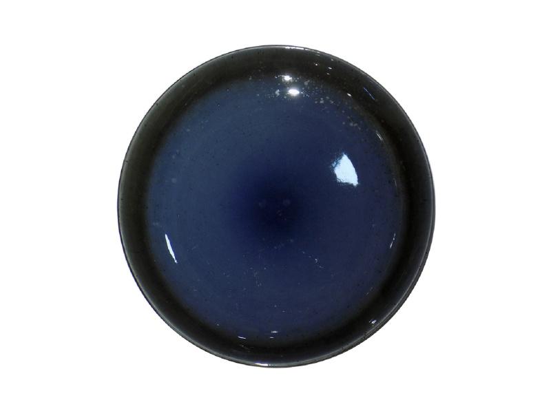 Plato De Postre 20 cm Cerámica Azul/Negro.