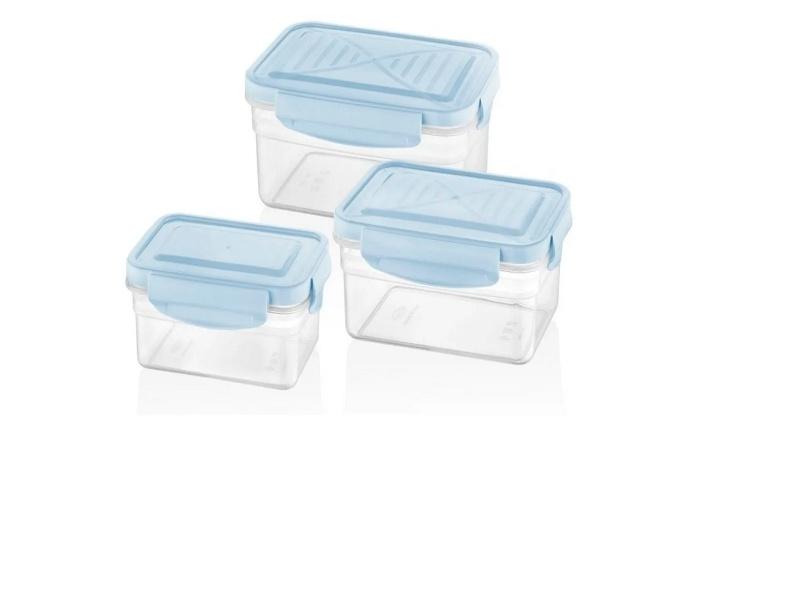 Tupper Recipiente Plástico Con Cierre Hermético Bager Set x 3 Piezas