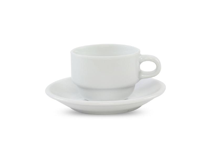Taza Cafe Porcelana 100 Ml Apilable Con Plato