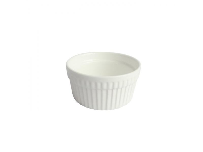 Ramequin redodndo 9 x 4.5  cm porcelana blanco.