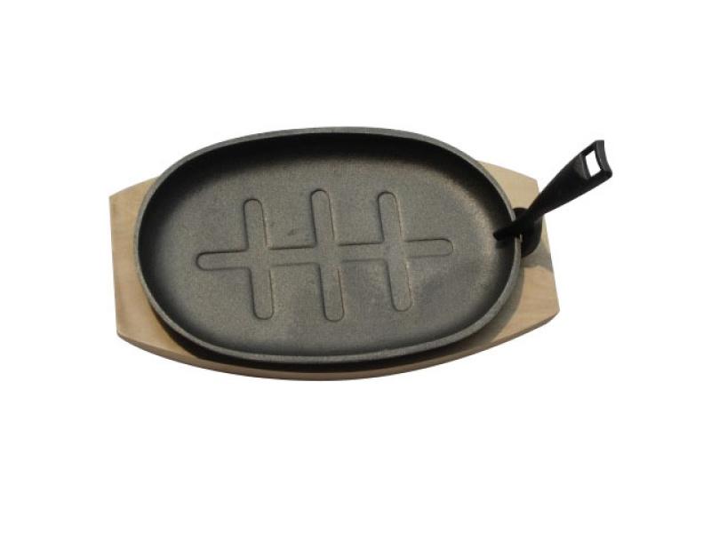 Plancha Grill Oval 28x19 cm Hierro con base de madera