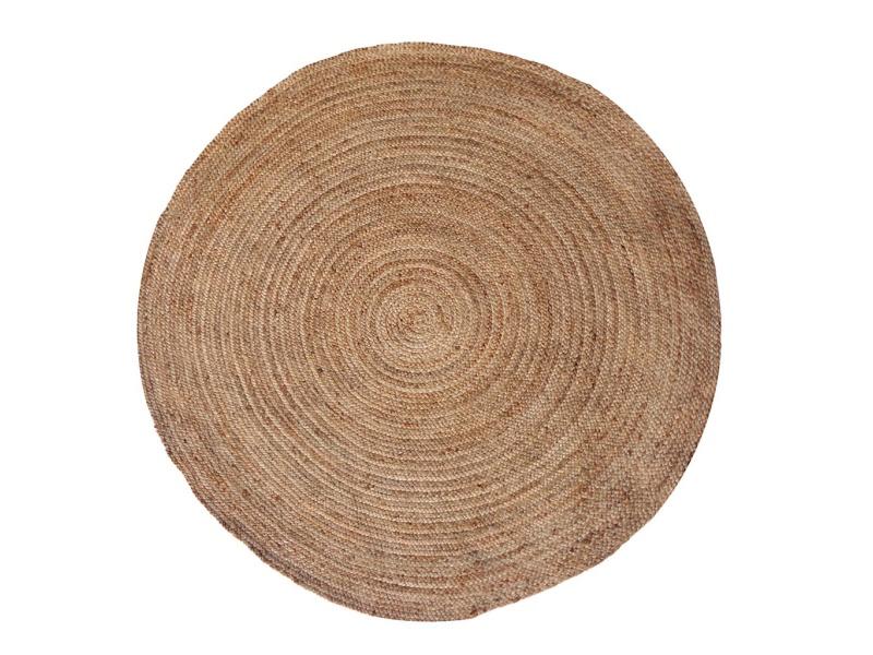 Alfombra Redonda D100cm De Yute Natural