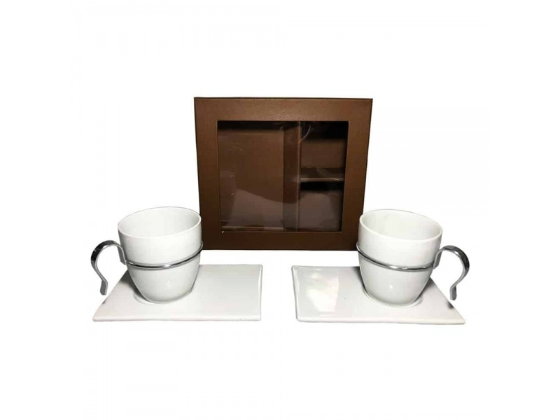 Juego De Tazas De Café Set x2 Cerámica Blanco