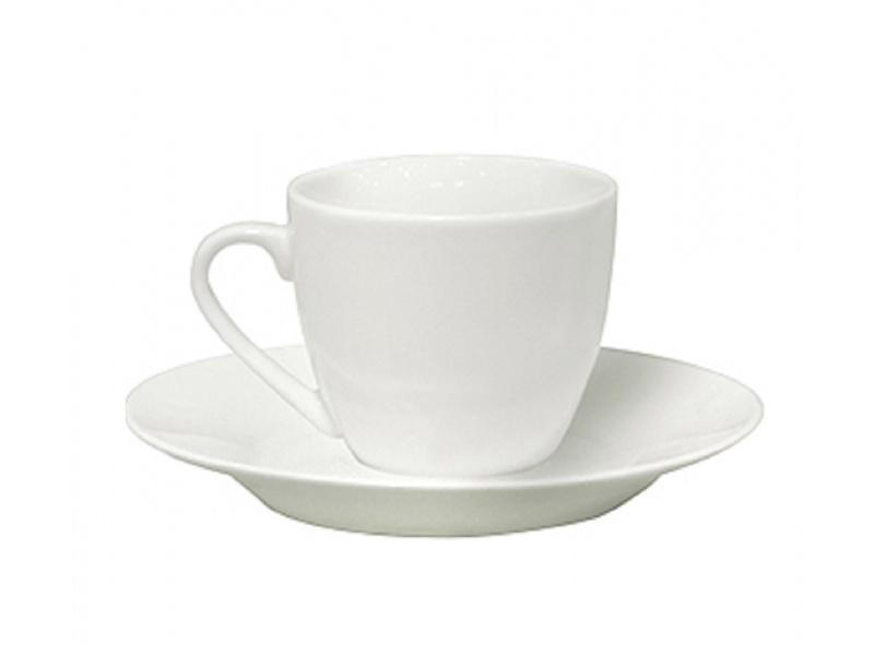 Taza de Café C/Plato 90ml Porcelana Blanca Selecta