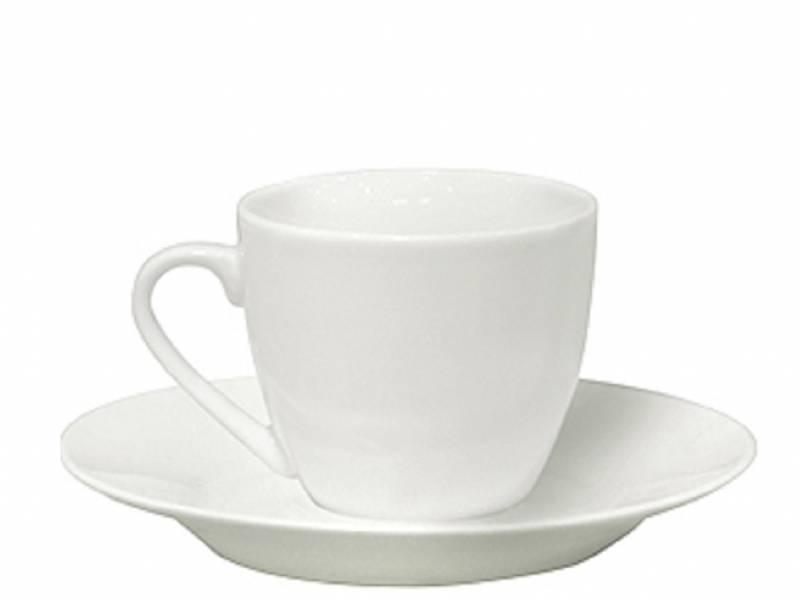 Taza de Café C/Plato 90 ml Porcelana Blanca Selecta