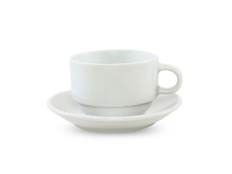 Taza Té Porcelana 230 ml Apilable C/Platillo Selecta