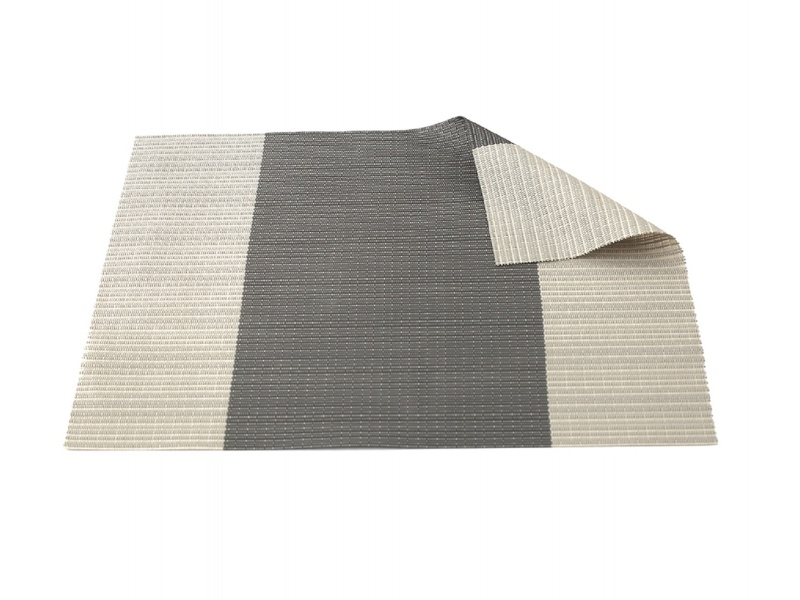 Individual PVC 40x30 cm Beige con Franja Gris