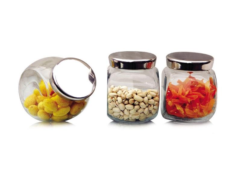 Frasco vidrio recipiente Tapa Metal 1,5 L Set x3 Selecta
