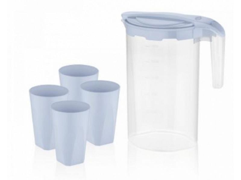 Juego de jarra + 4 vasos plástico Clover Bager