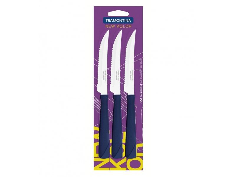 Cuchillo de asado azul Set x3 New Kolor Tramontina