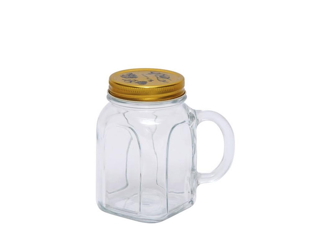 Jarro vidrio Mug con Tapa y Asa 450 ml Pasabahce.
