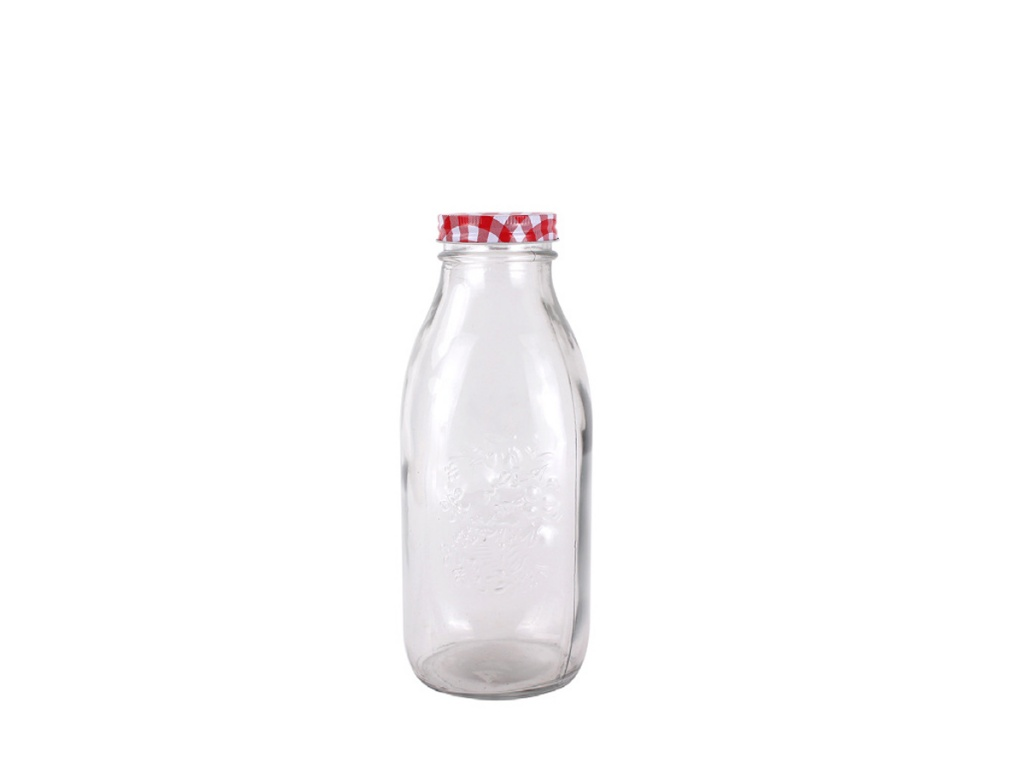 Botella vidrio para Jugos con Tapa Metal 1 Lt.